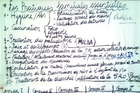 Liste des pratiques familiales essentielles à l'atelier de Bertoua.