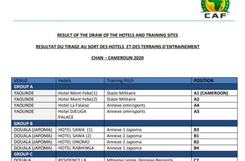 Article : CHAN 2020 au Cameroun, le match des hôtels